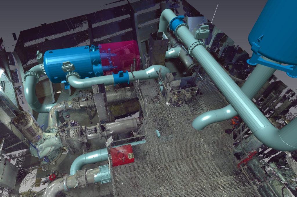3D Model of BWTS Filter, Service Area and Piping.
