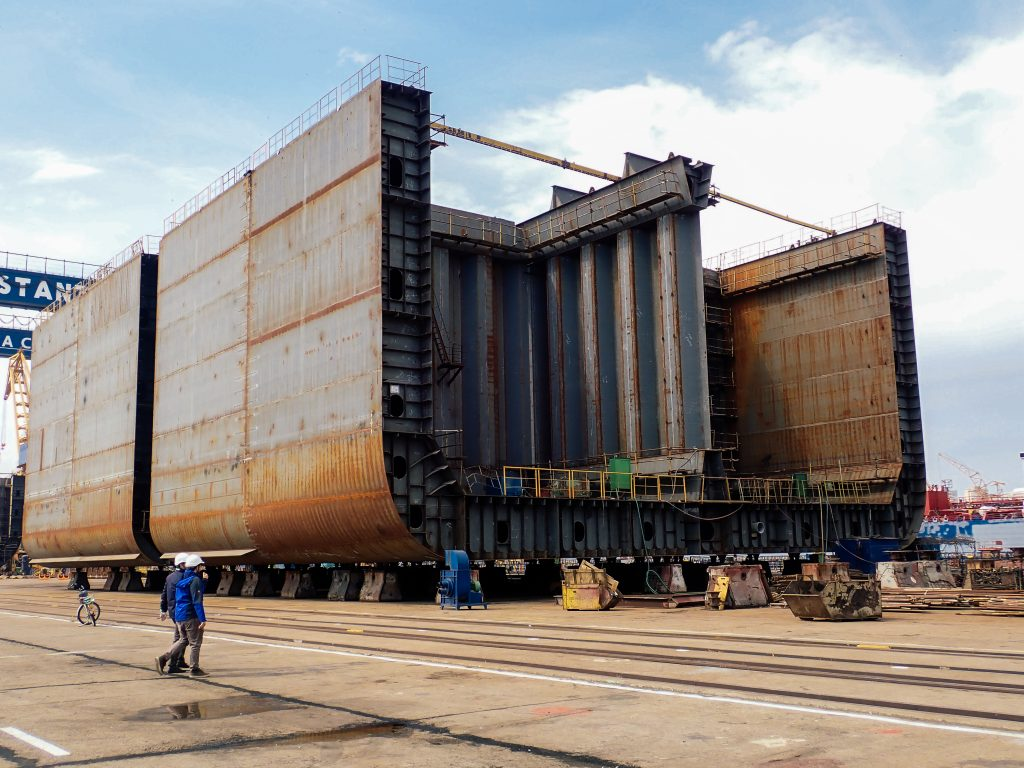 Exterior view of a ship's hull during the erection phase of the newbuilding process.